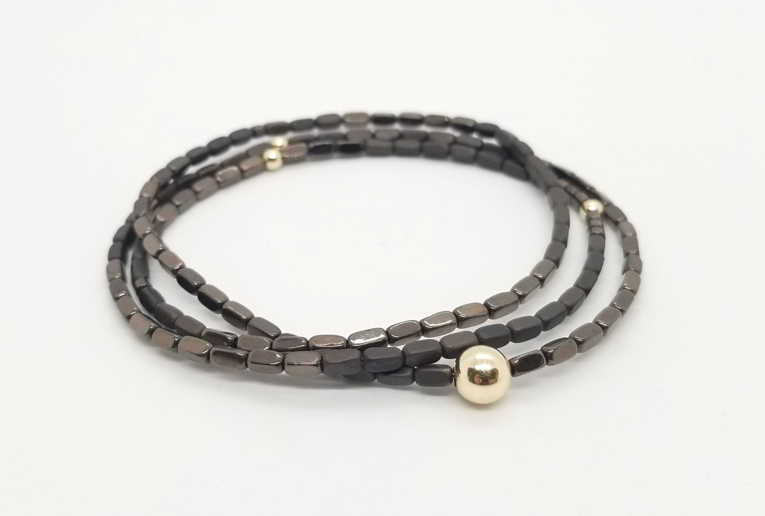 Bronze Rectangle Hematite and Gold Wrap 3 Stack Bracelet/Single Necklace Combo