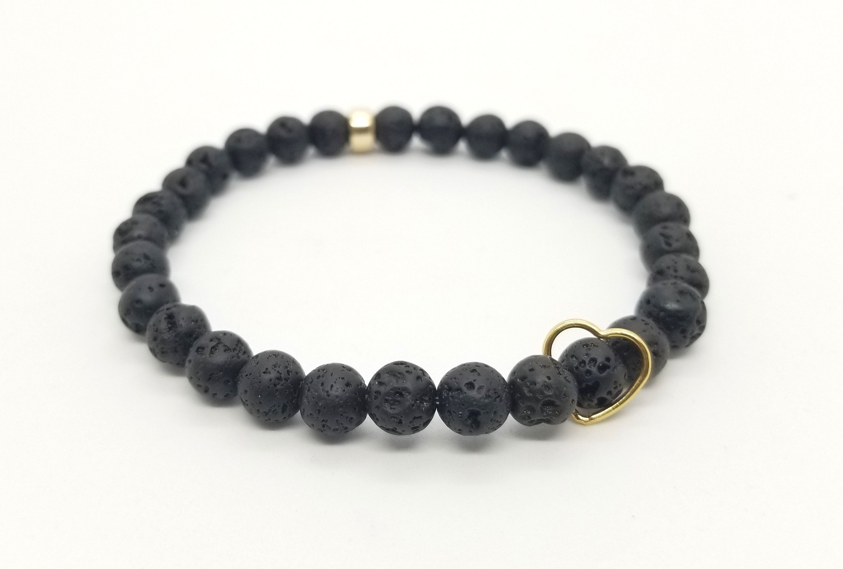 6mm Lava Floating Gold Heart Bracelet