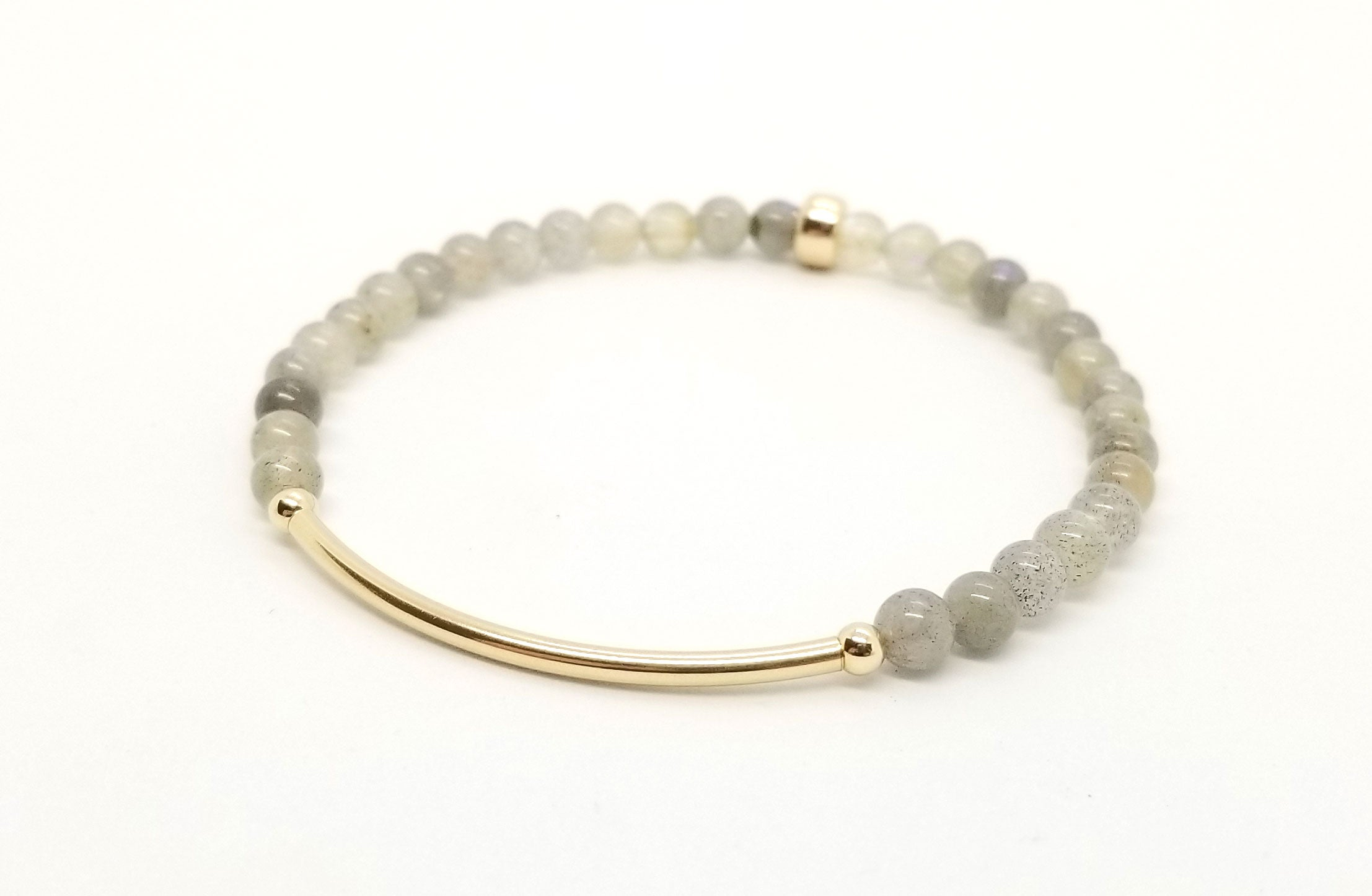 4mm Labradorite Gold Bar Bracelet