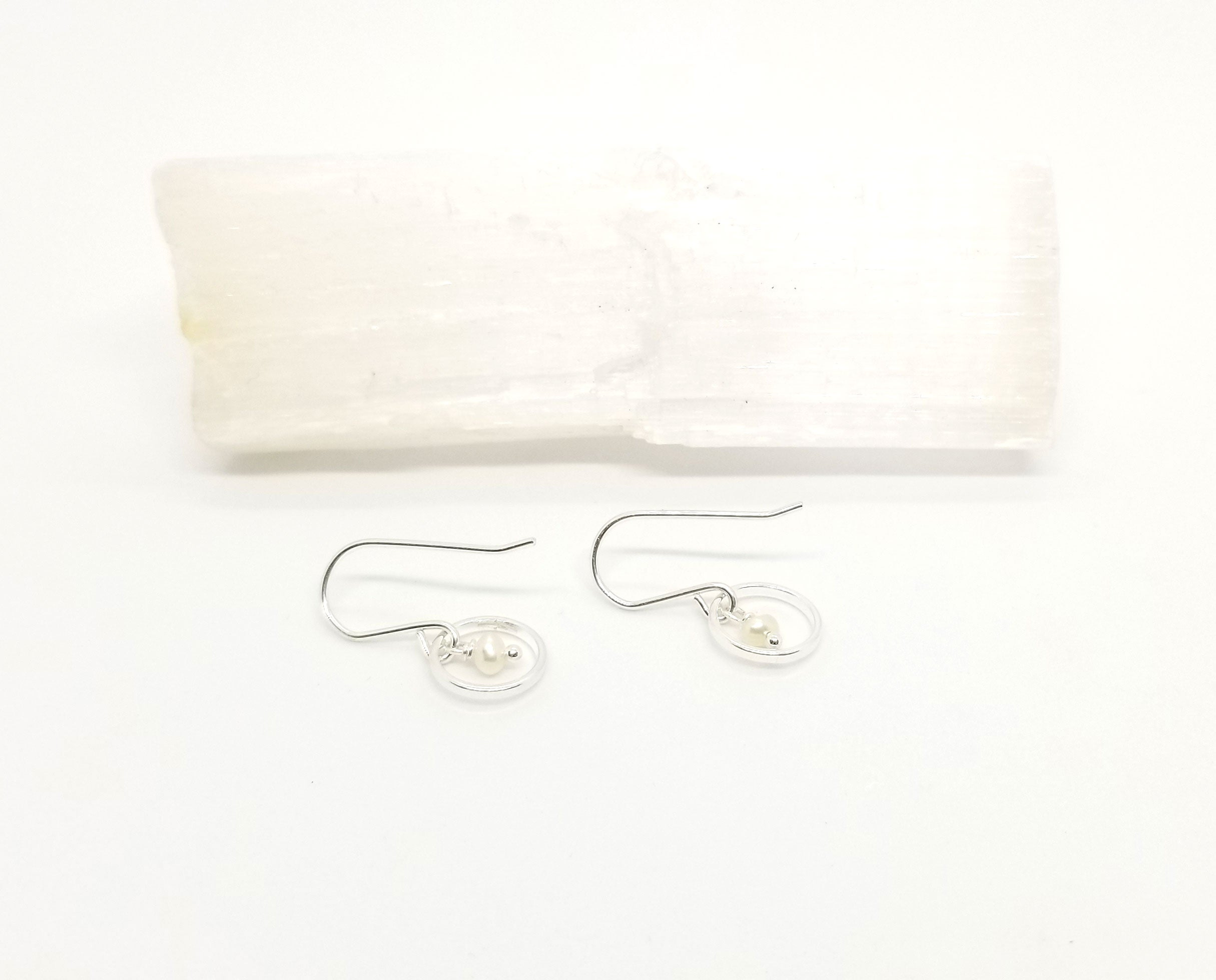 Silver Hoop Freshwater Pearl Earrings