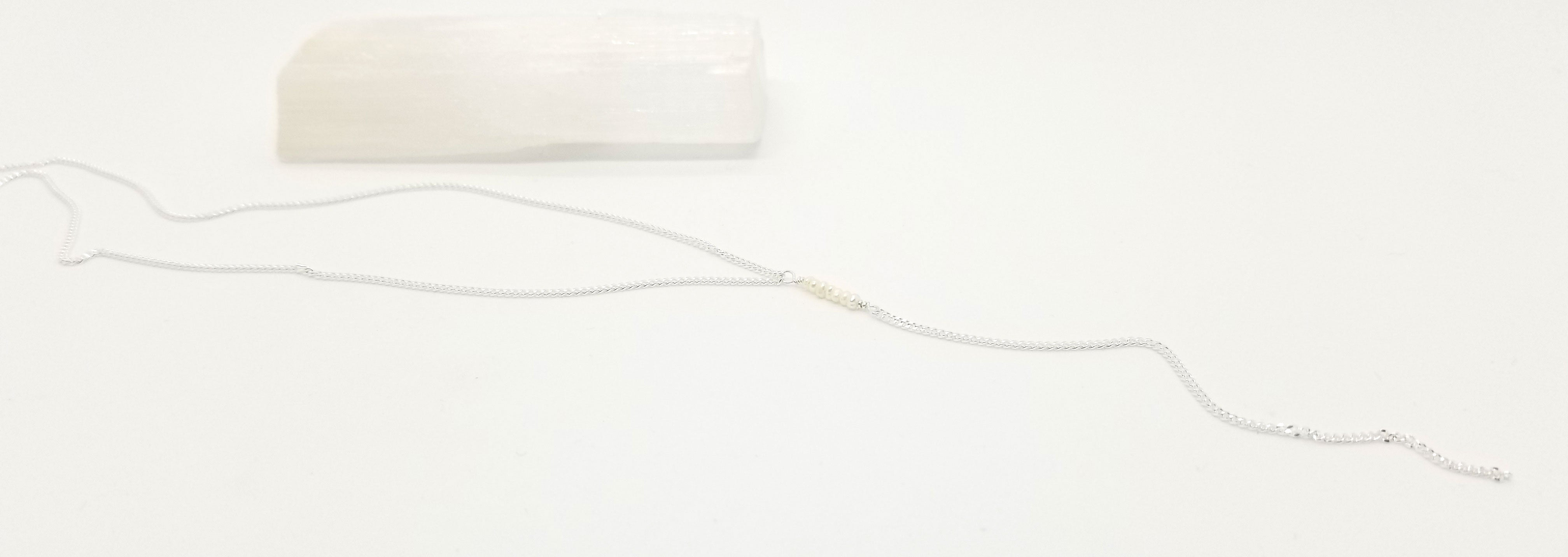 Freshwater Pearl Silver Center Drop Necklace