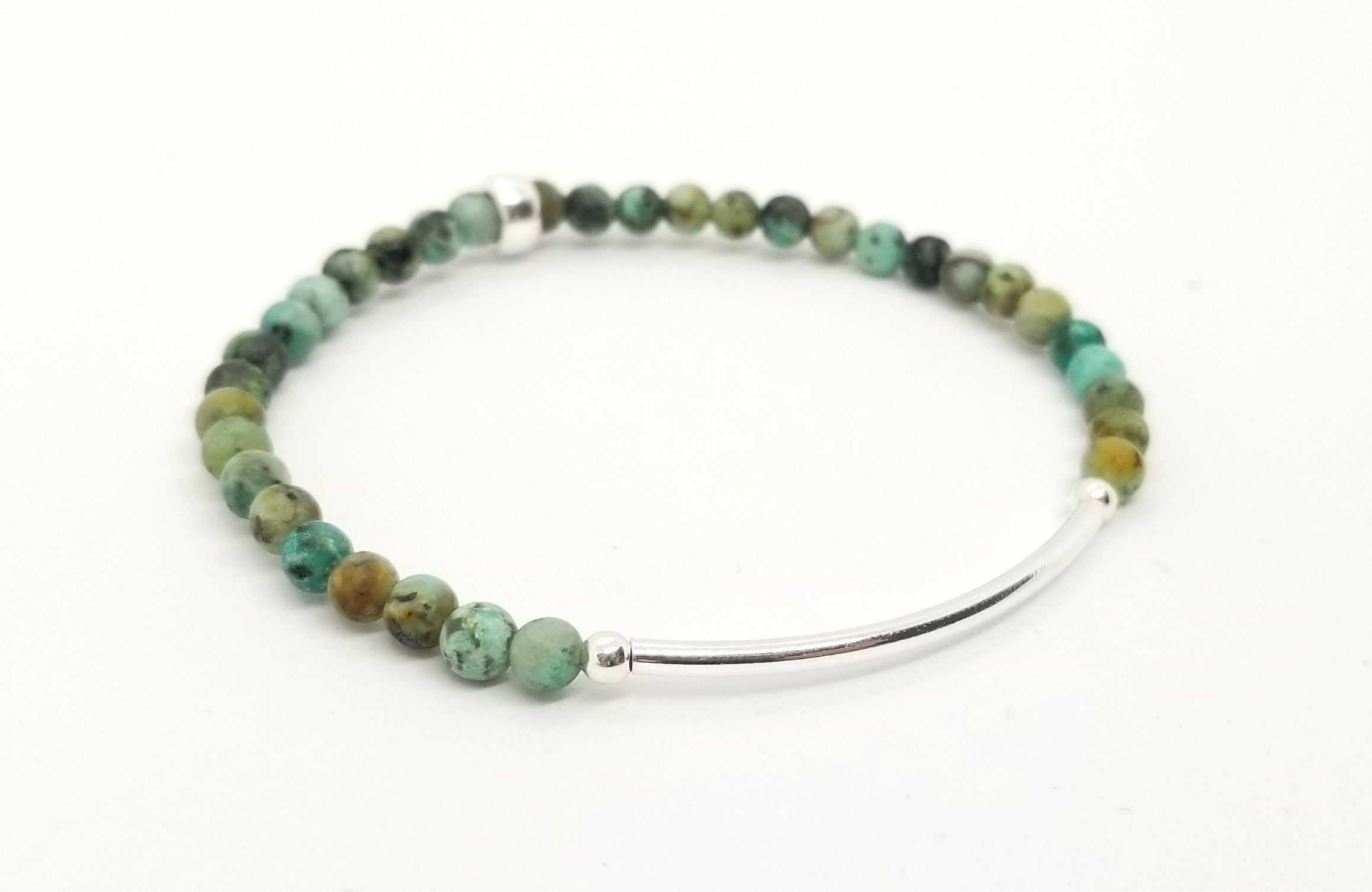 African Turquoise Silver Bar Bracelet