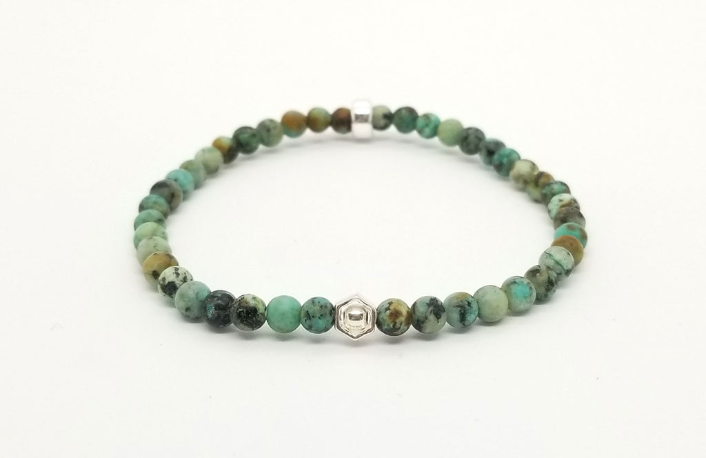 African Turquoise Silver Hexagon Bracelet