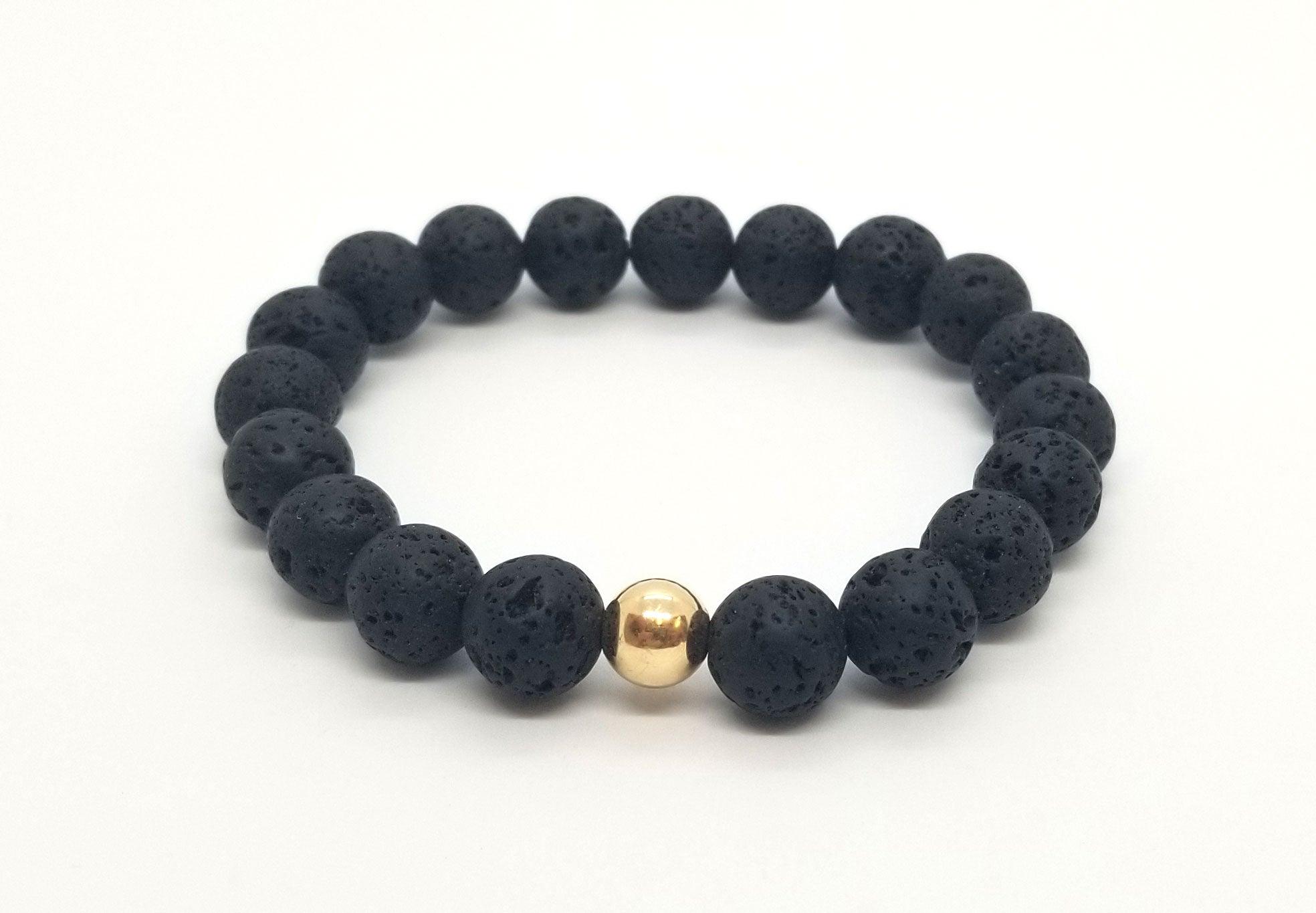 10mm Lava With Gold Center Piece Bracelet