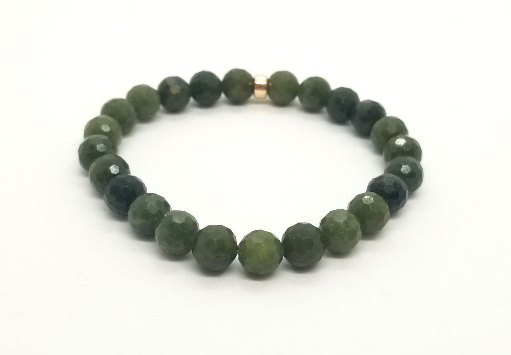 8mm BC Jade With Gold Bracelet