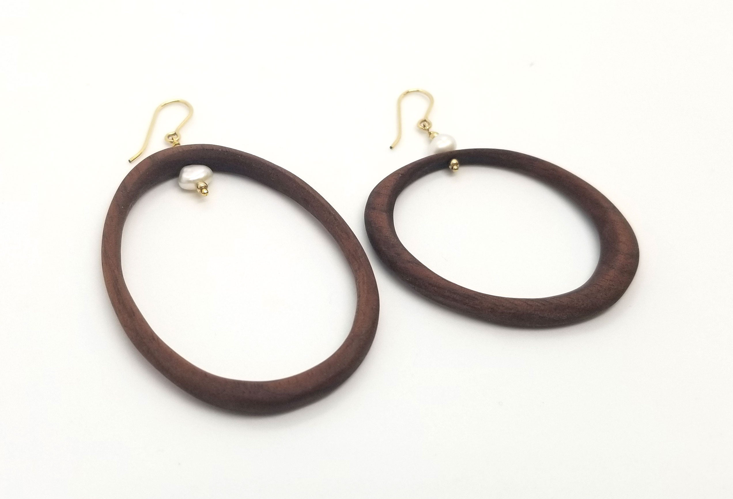 Black Walnut Wood Asymmetrical Hoops With Freshwater Pearls and Gold (Message for Purchase)