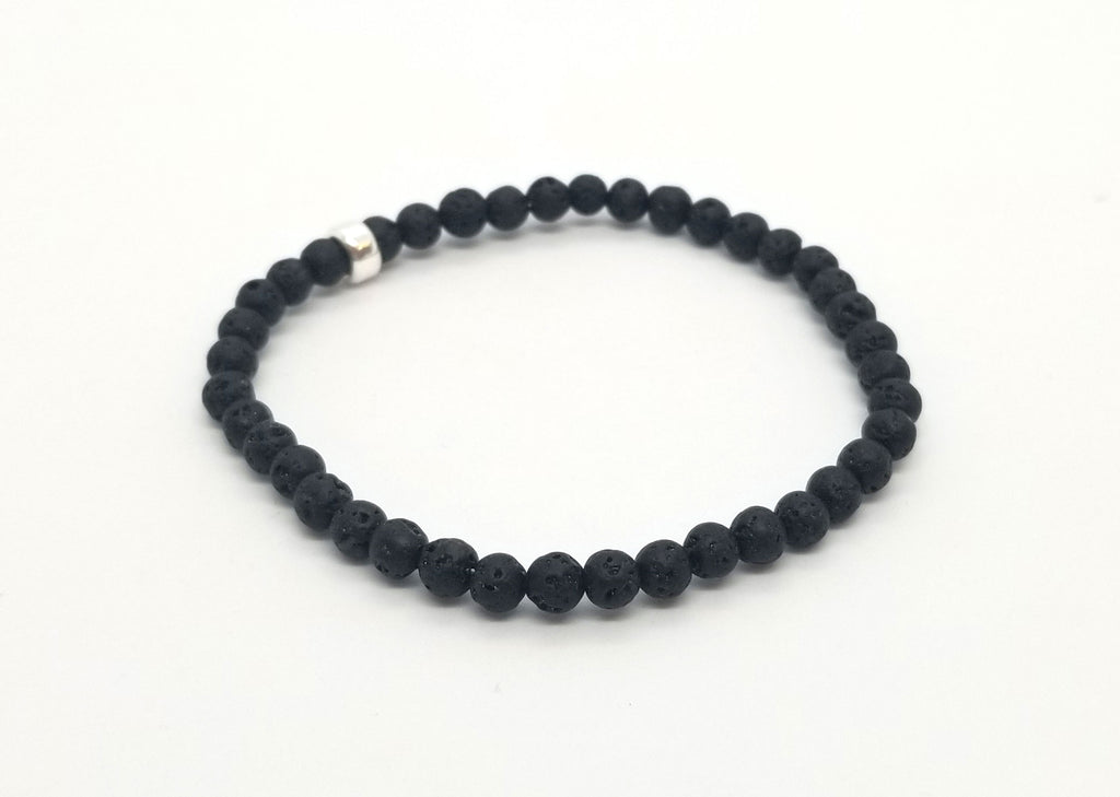 4mm Lava Silver Gemstone Bracelet