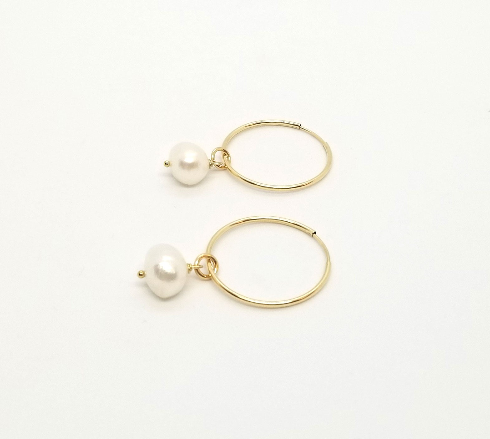 Gold Hoops With Freshwater Pearl Removable Charm Earrings