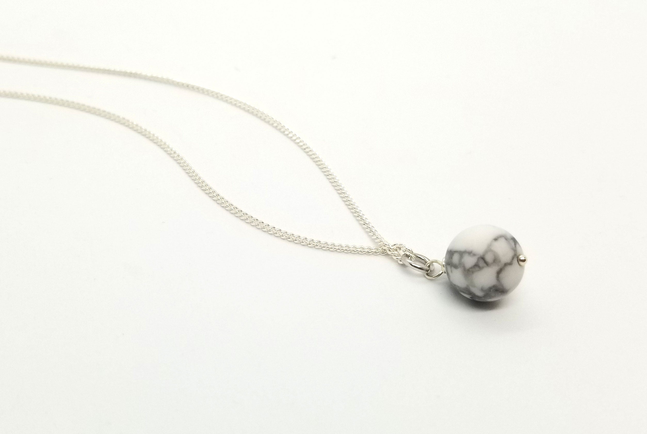 Silver 10mm Howlite Removable Charm Necklace