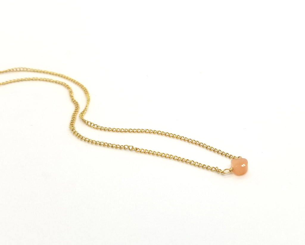 Peach Moonstone Gold Necklace