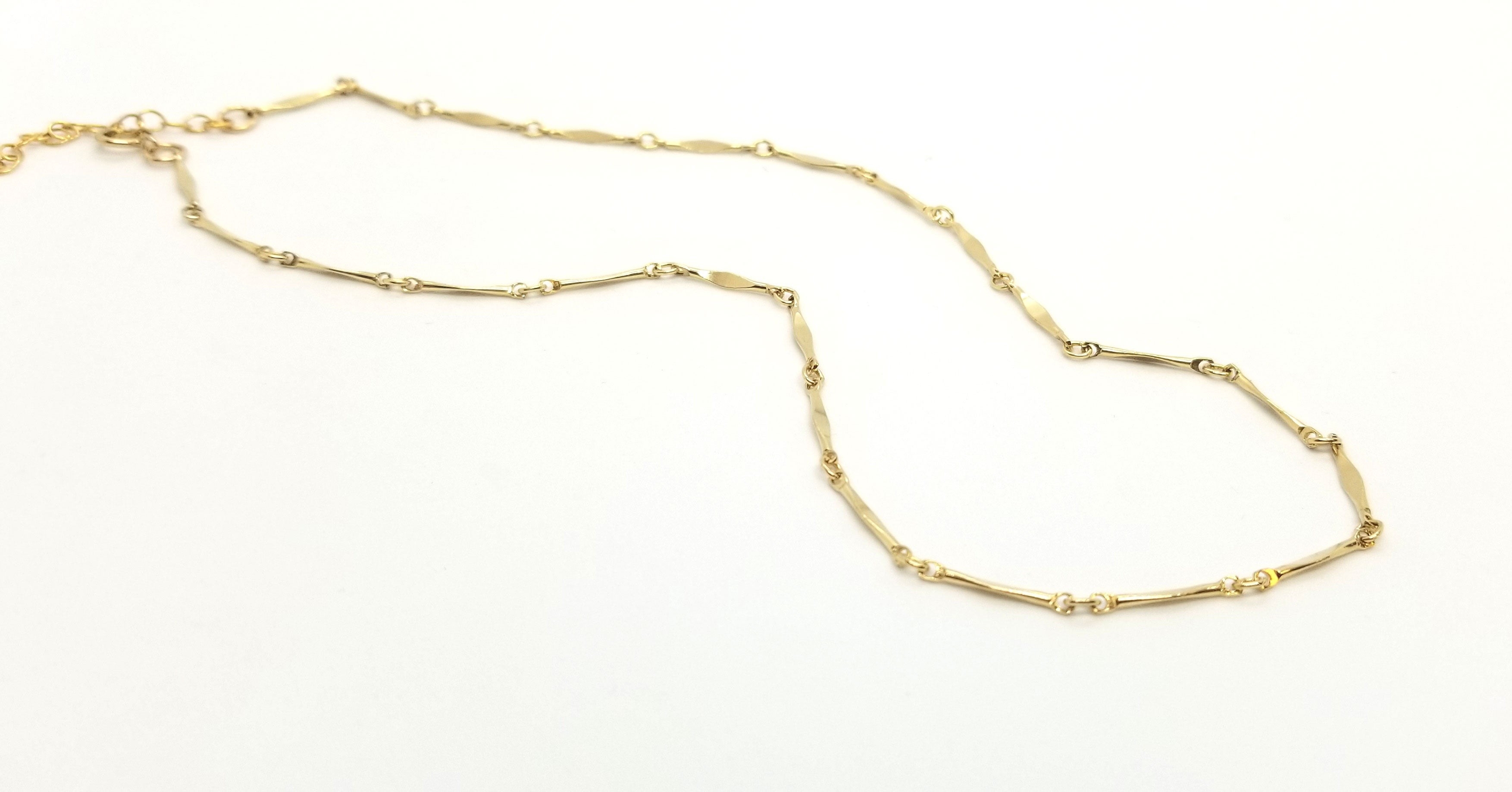 "Gold Diamond Bar Classic 16"" Necklace"
