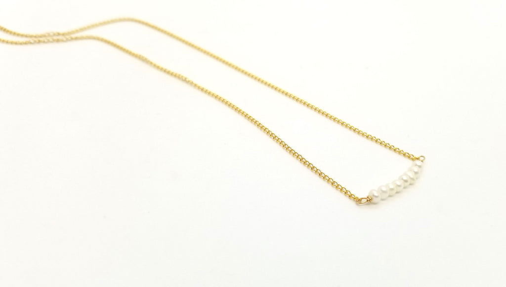 Gold Pearl Bar Necklace
