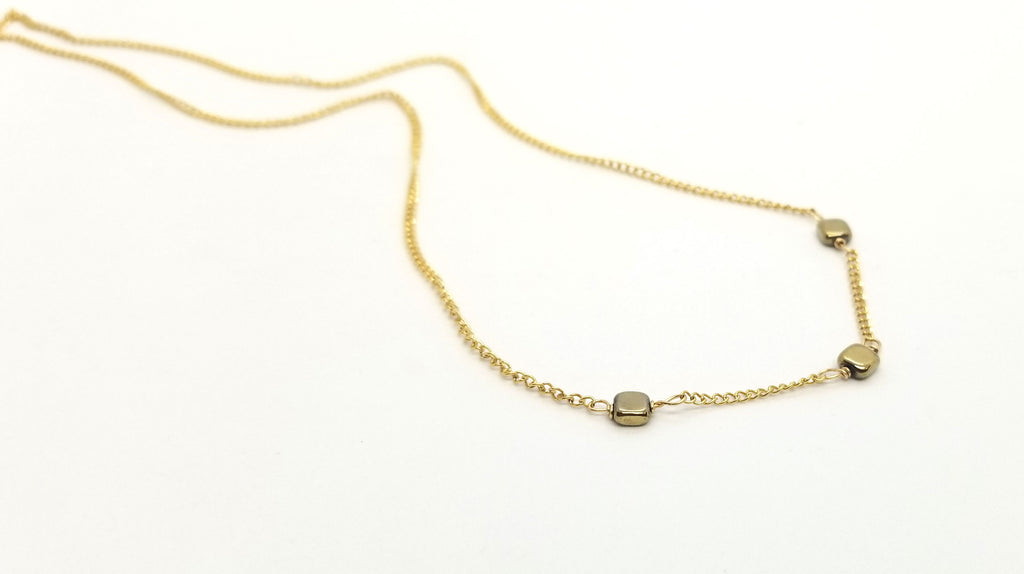 Hematite Gold 3 Gem Necklace