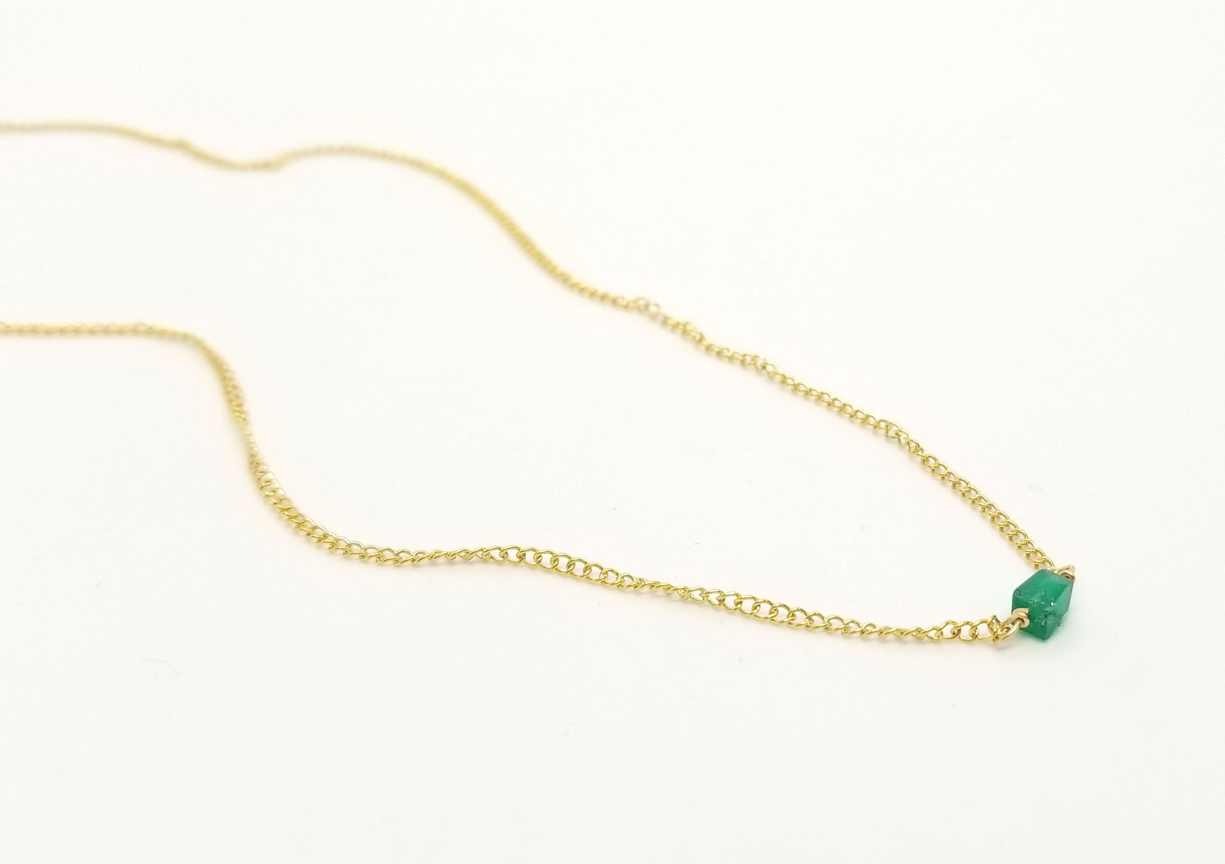 Green Onyx Gold Necklace