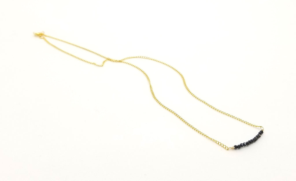 Black Spinel Gemstone Bar Gold Necklace