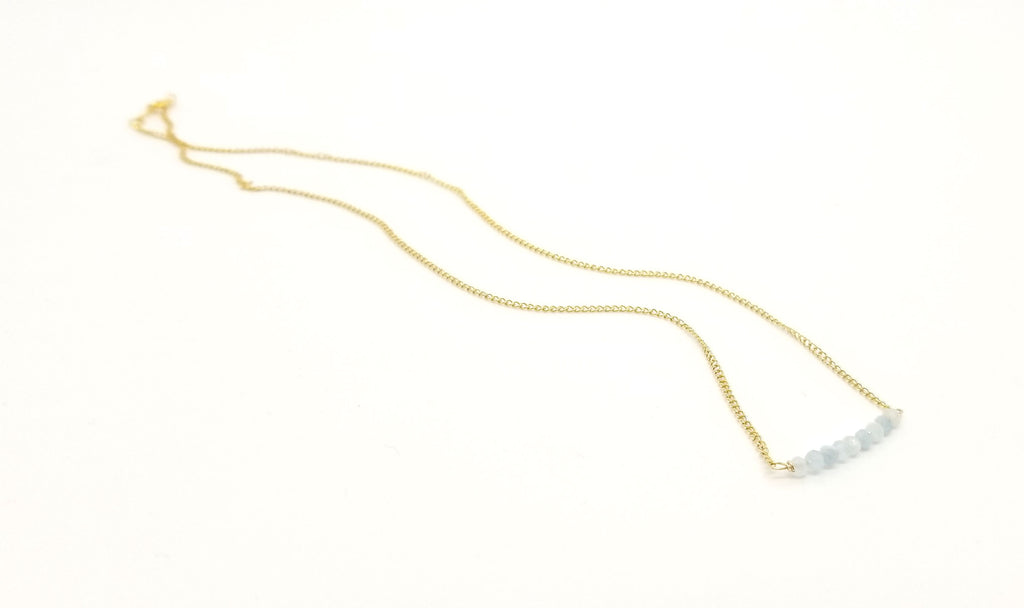 Aquamarine Gemstone Bar Gold Necklace