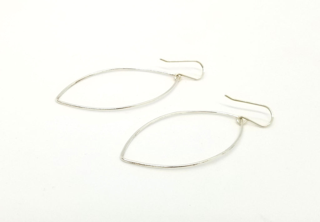 Silver Almond (Large) Earrings