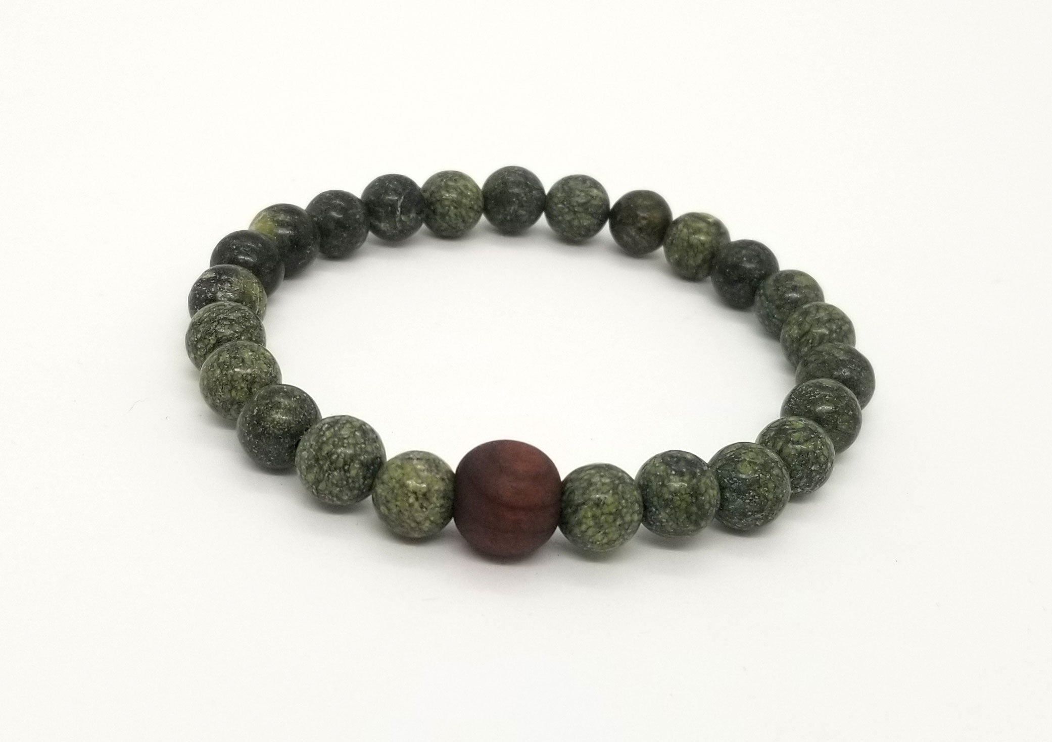 8mm Russian Jade Black Walnut Wood Bead Bracelet