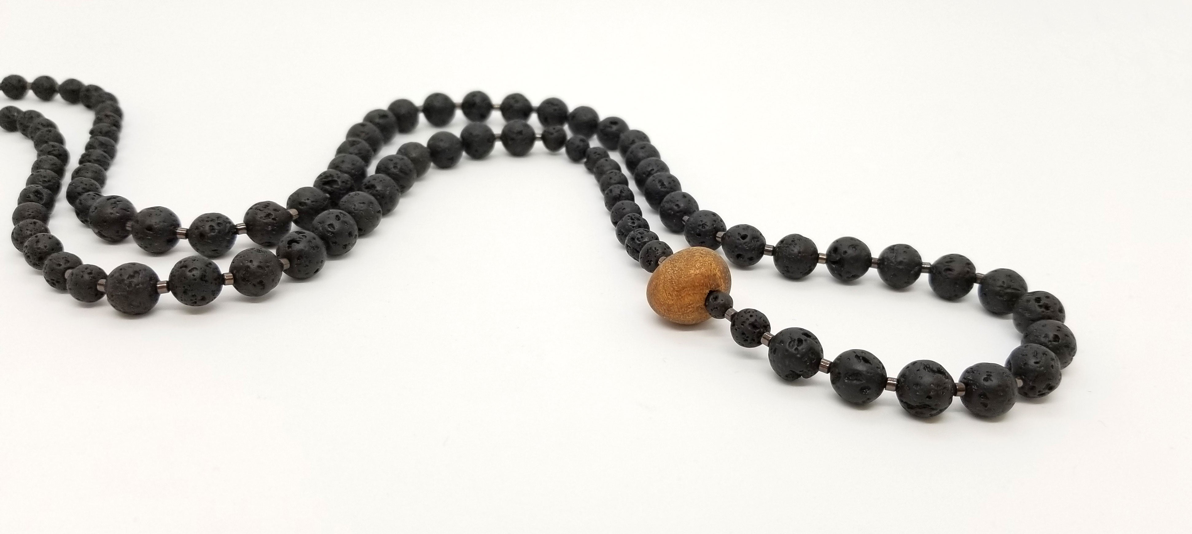Long Lava Cherrywood Bead Necklace