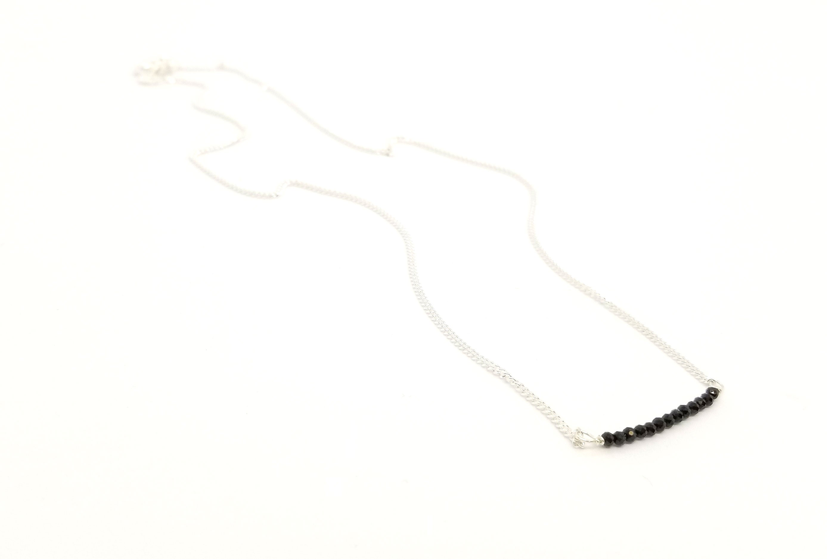 Black Spinel Gemstone Bar Silver Necklace