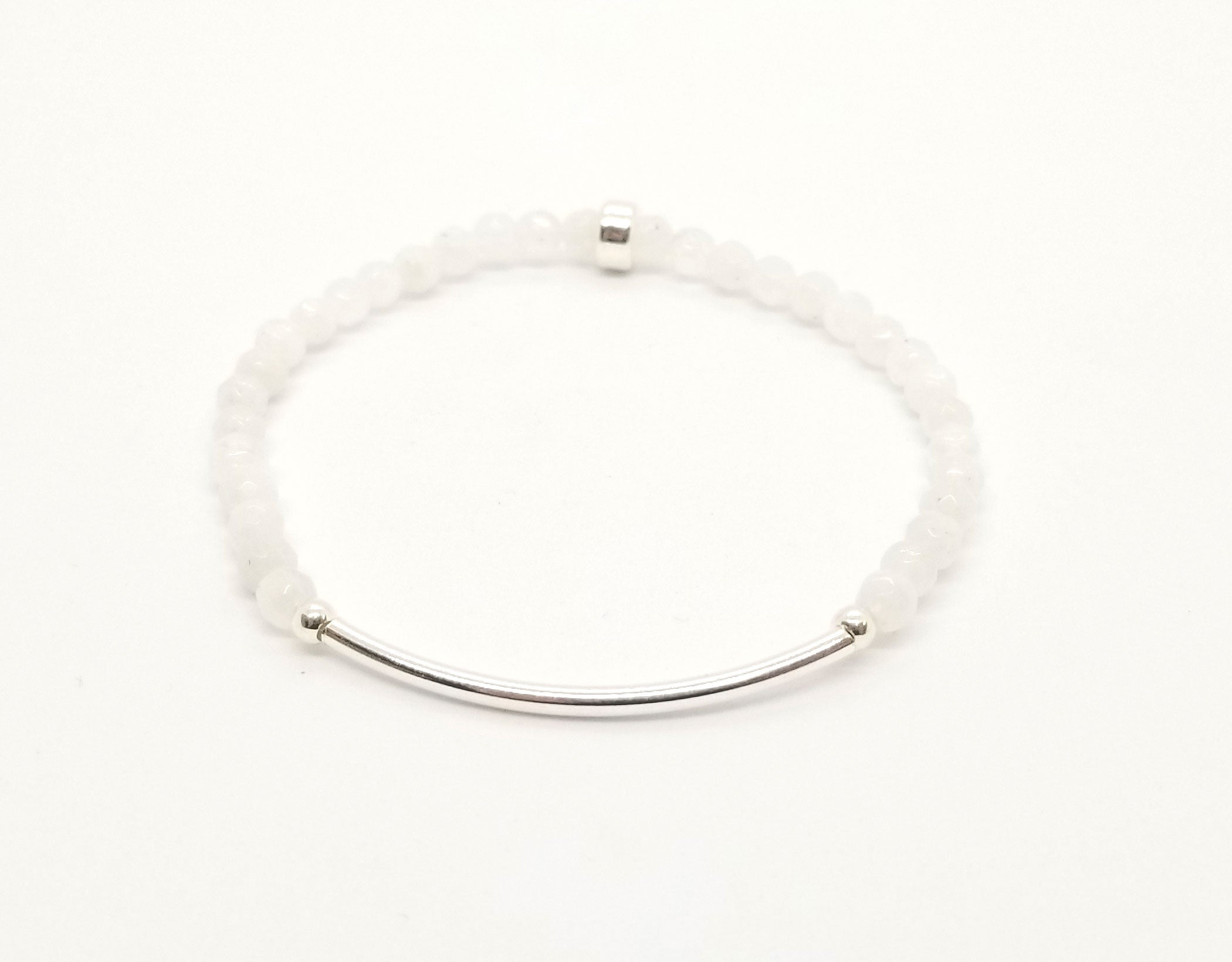 4mm Faceted Moonstone Silver Bar Bracelet