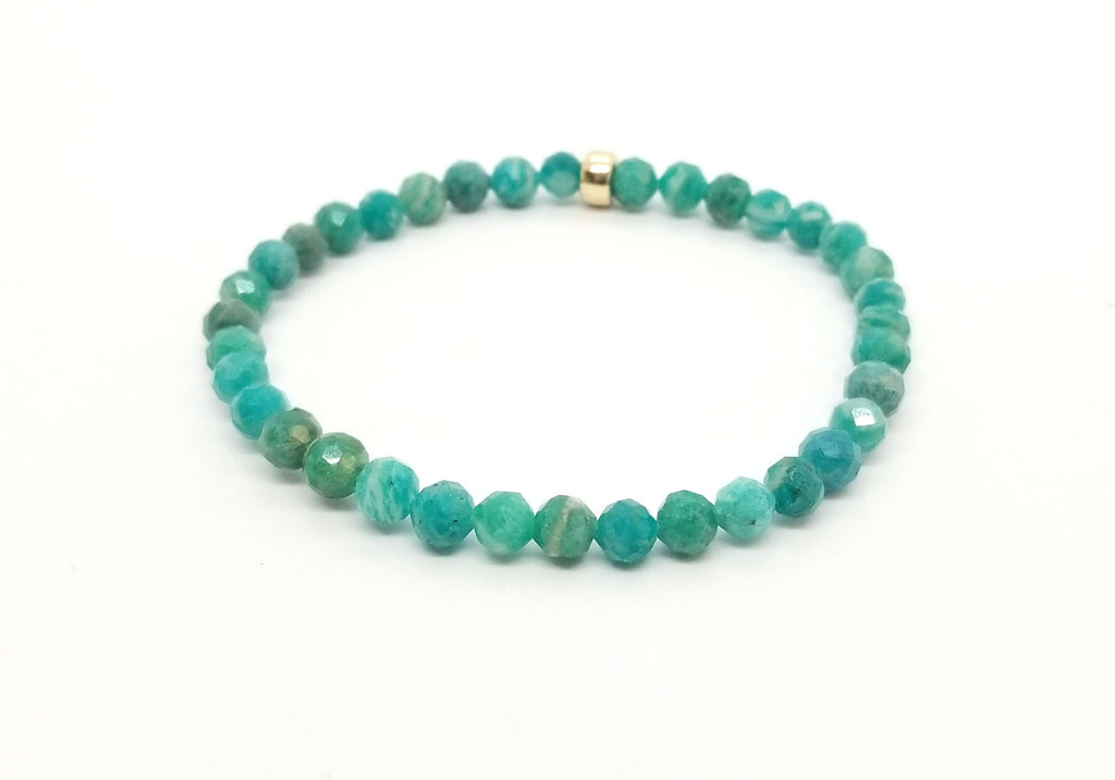 Russian Amazonite With Gold Gemstone Bracelet