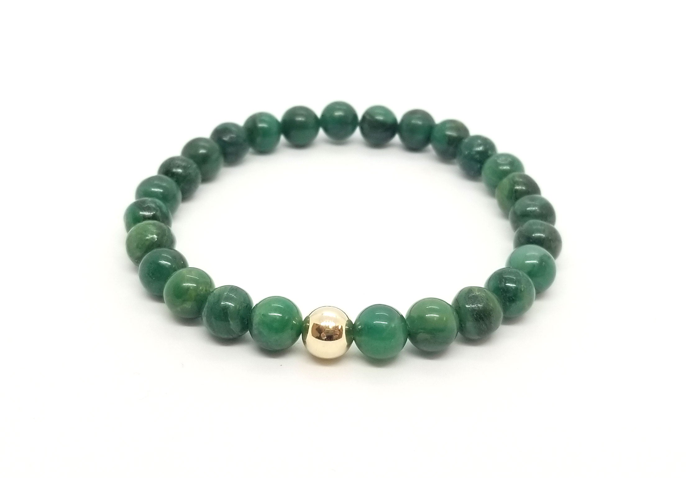8mm African Jade With Gold Gemstone Bracelet