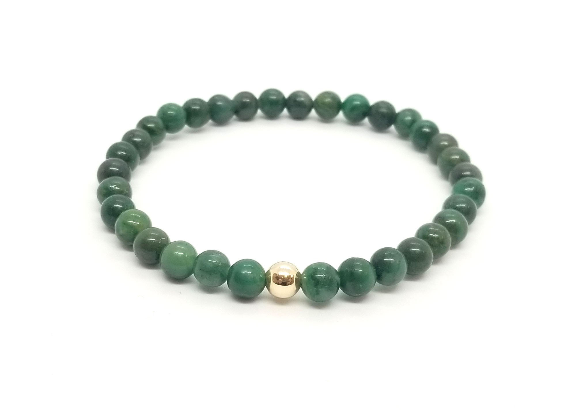 6mm African Jade With Gold Gemstone Bracelet