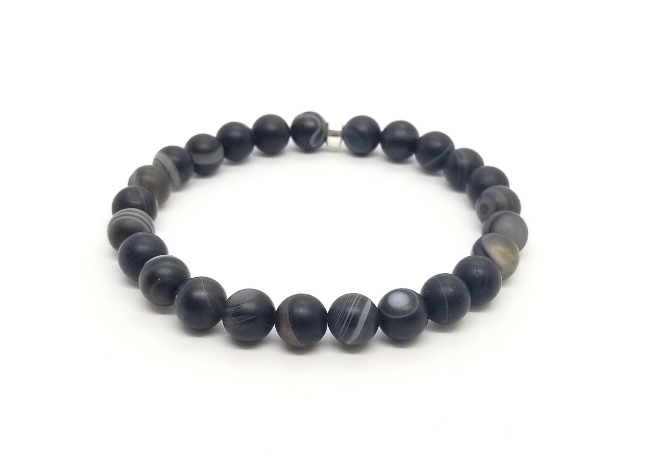 8mm Agate With Silver Bracelet