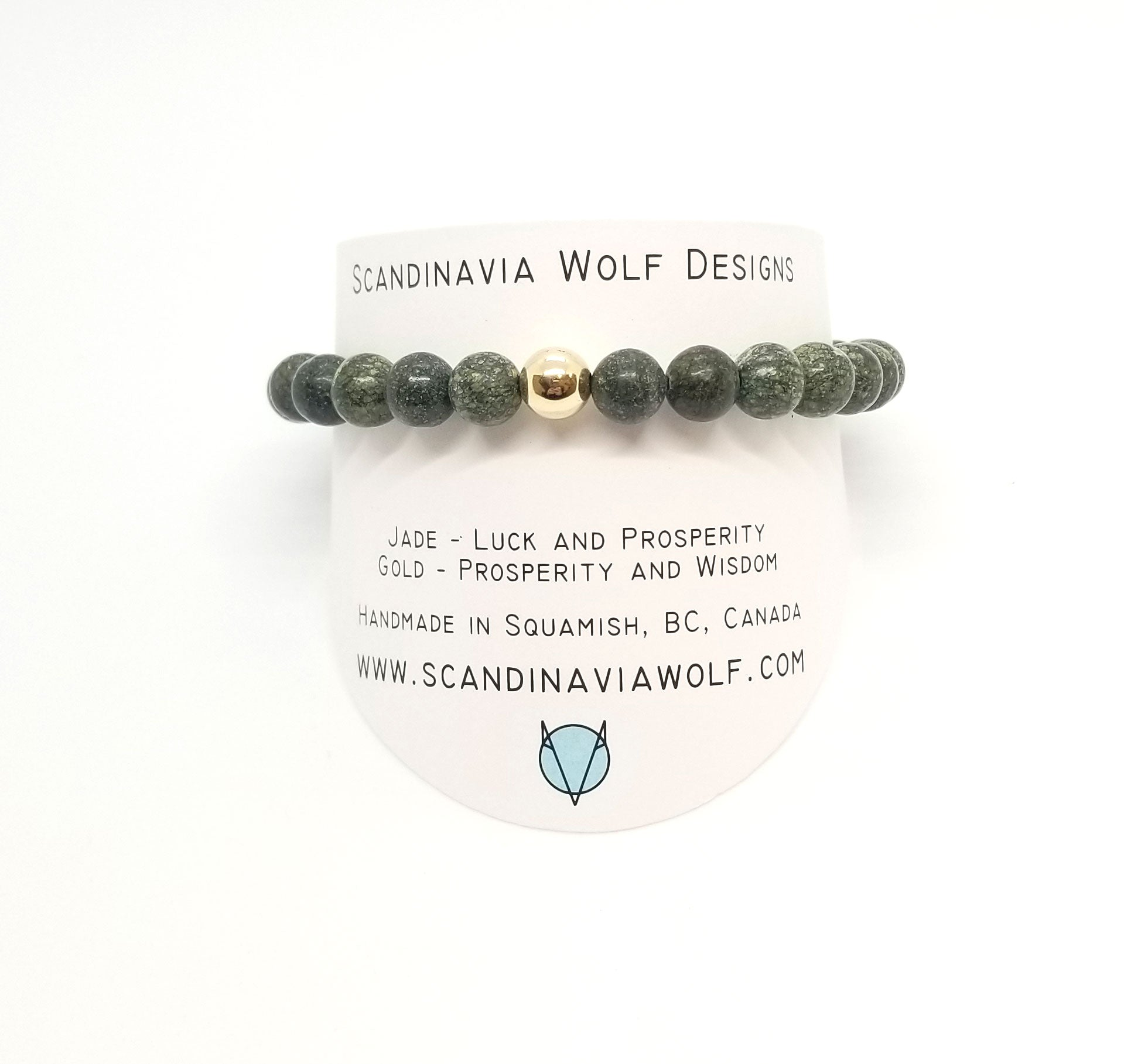 8mm Russian Jade With Gold Bracelet