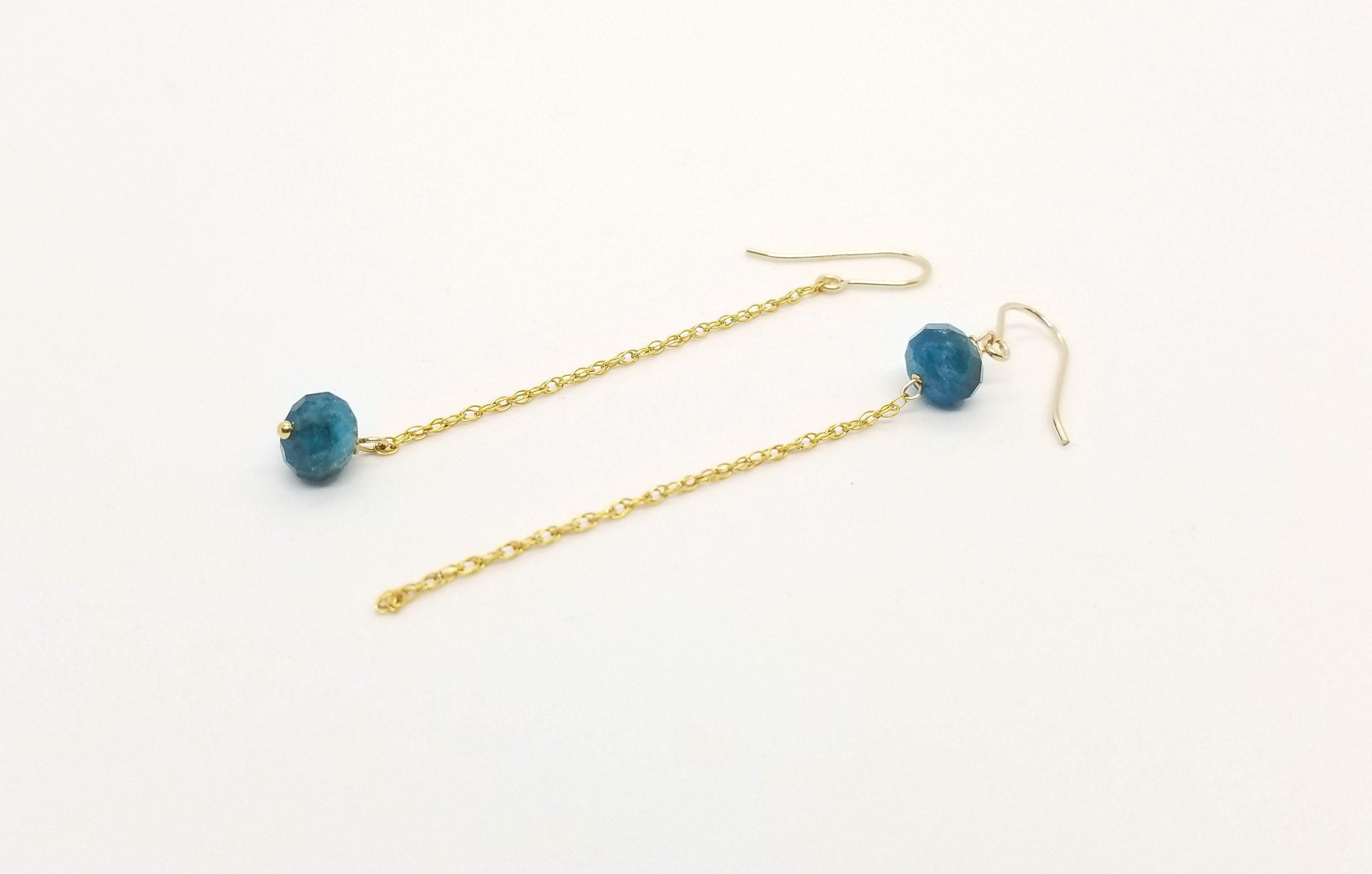 Asymmetrical Apatite Gemstone Gold Dangle Earrings