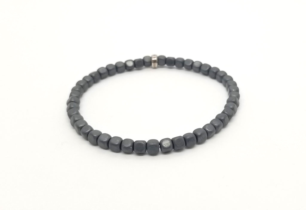 4mm Matte Grey Hematite With Silver Bracelet