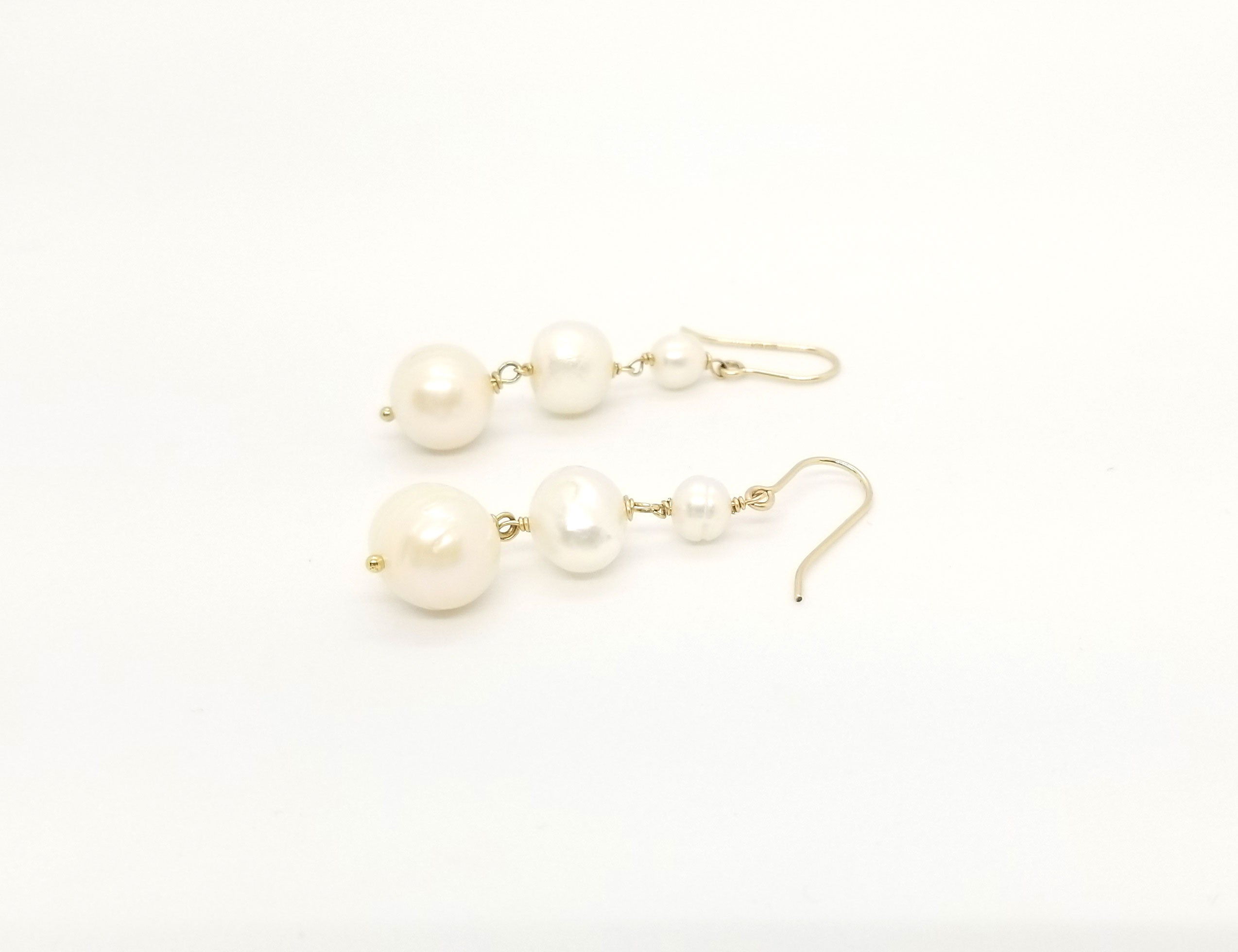 Triple Pearl Gold Earrings