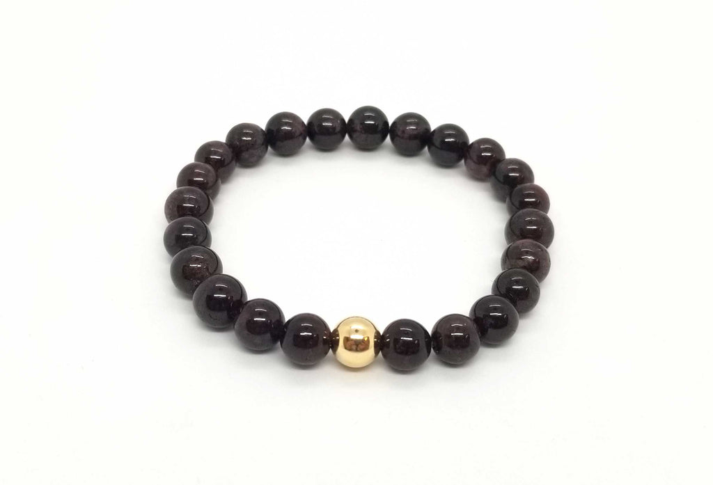 Garnet Gold Bead Bracelet 8mm