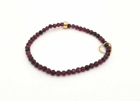 Garnet Gold Floating Heart Bracelet