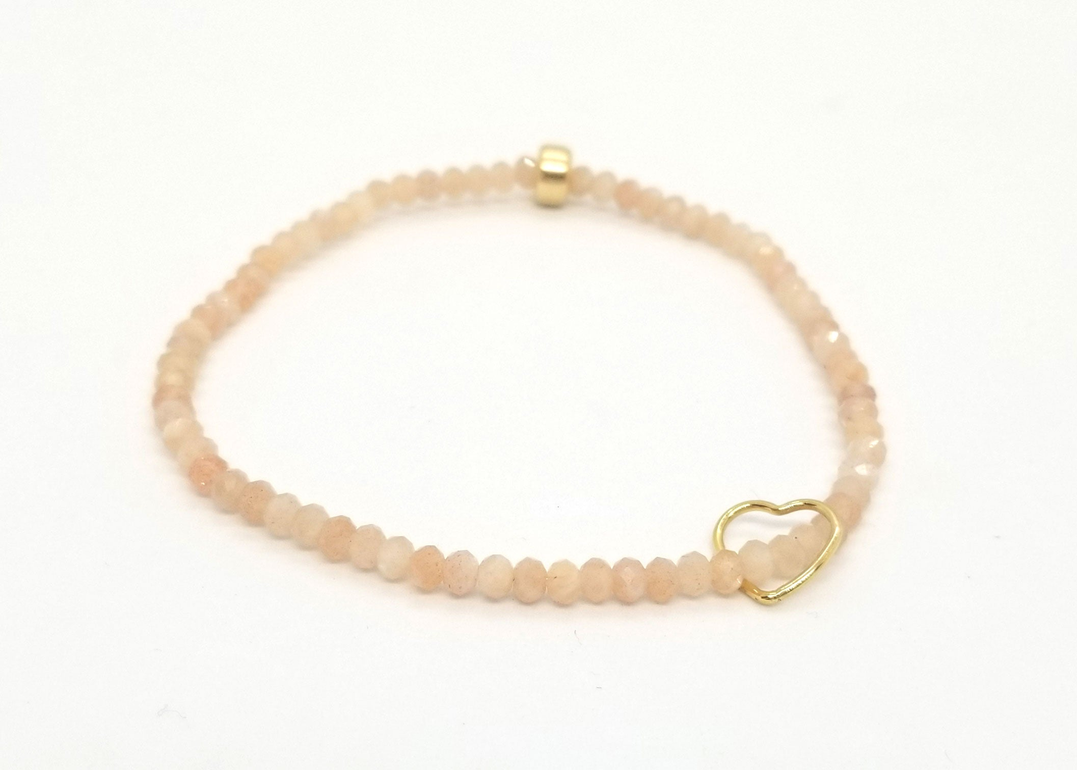 Peach Moonstone Gold Heart Bracelet