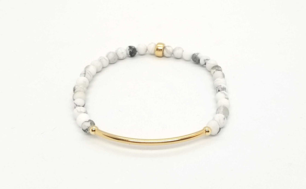 Howlite Gold Bar Bracelet
