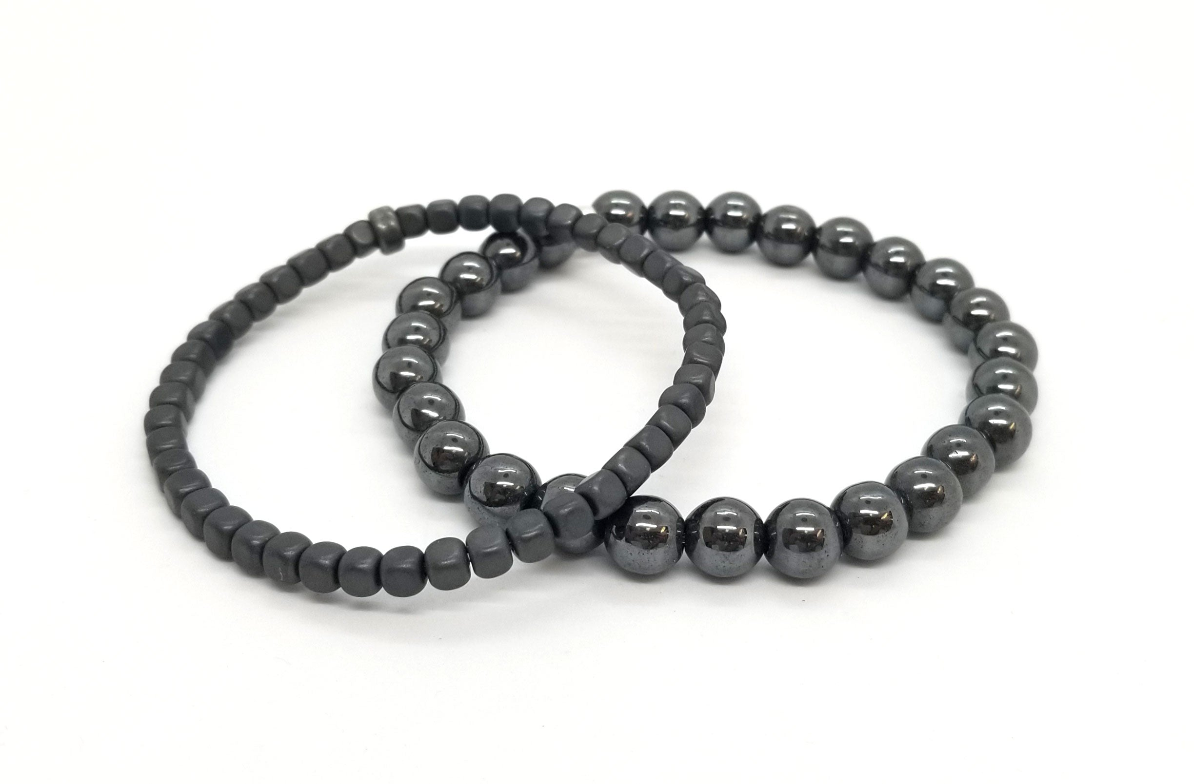 Double Grey Hematite With Silver Bracelet