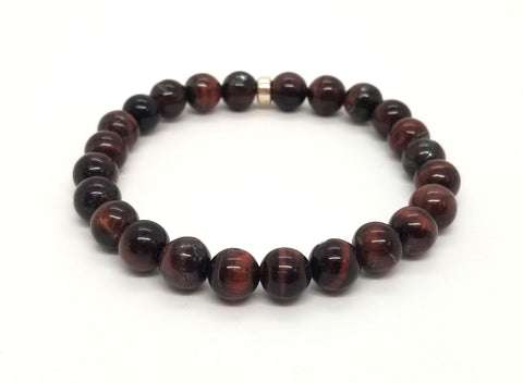 Red Tiger's Eye Silver Bracelet