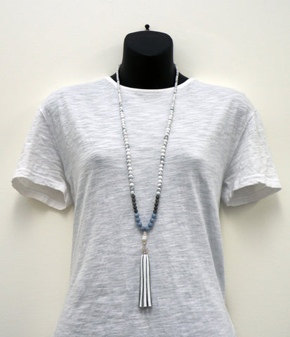 Angelite Howlite Tassel Necklace