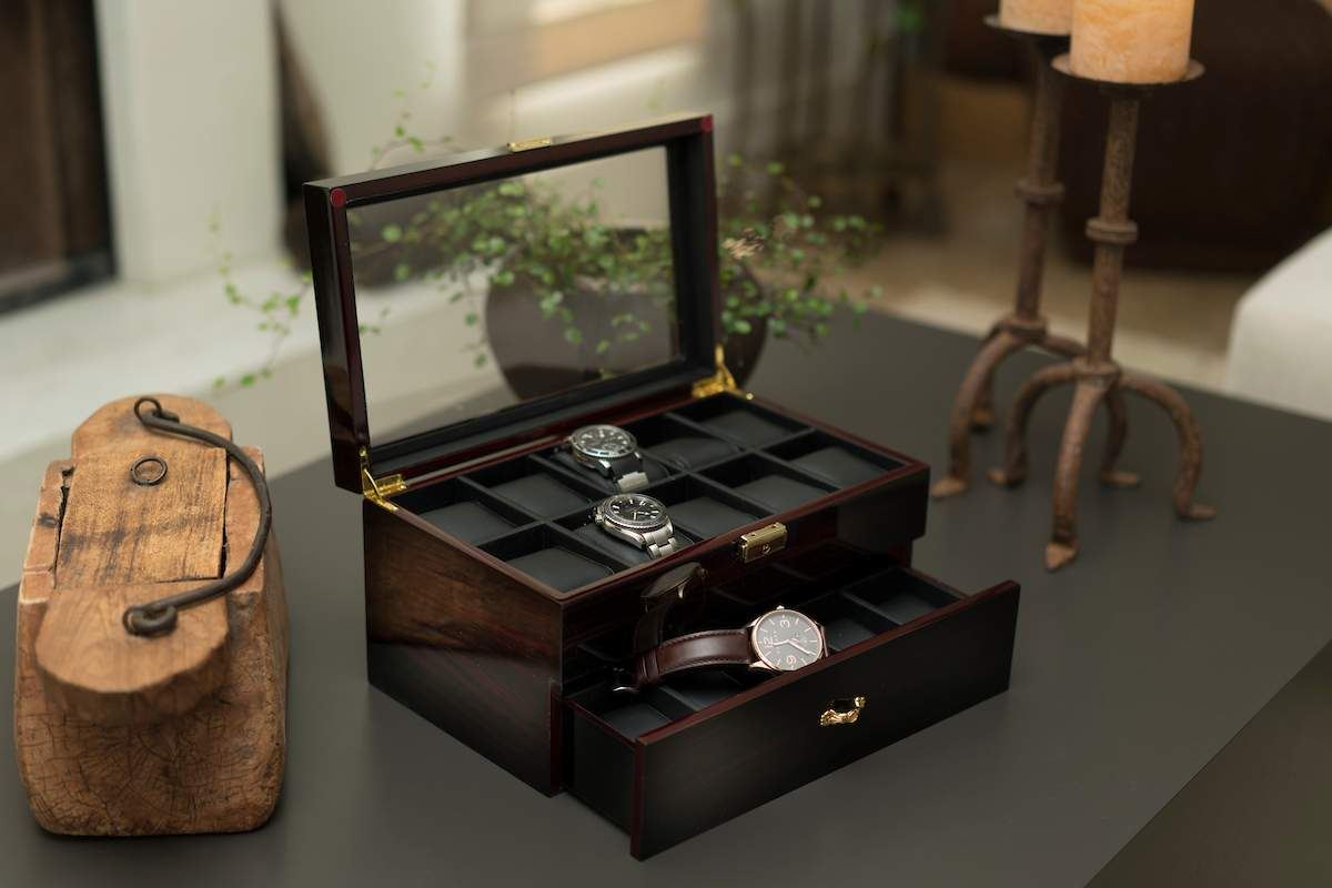 Boxes, Cases & Watch Winders Black Trend Mark Luxury Wood Watch Box Collectors