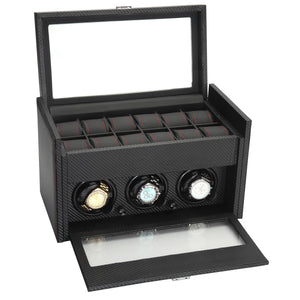 Diplomat Black Carbon Fiber Pattern 3 Watch Winder & 12 Watch Additional Storage