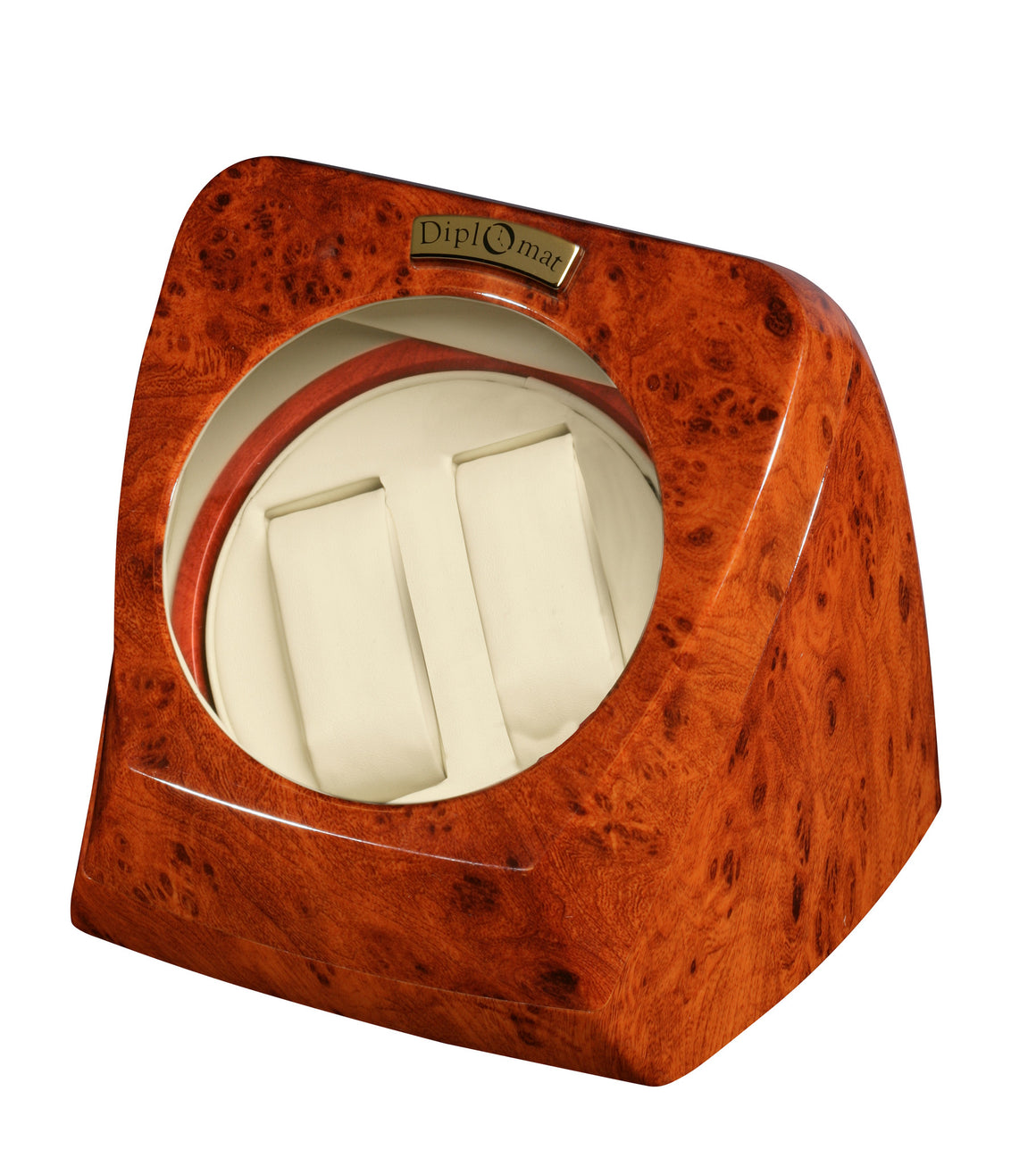 Diplomat Burl Wood Double Watch Winder - Watch Box Co. - 1