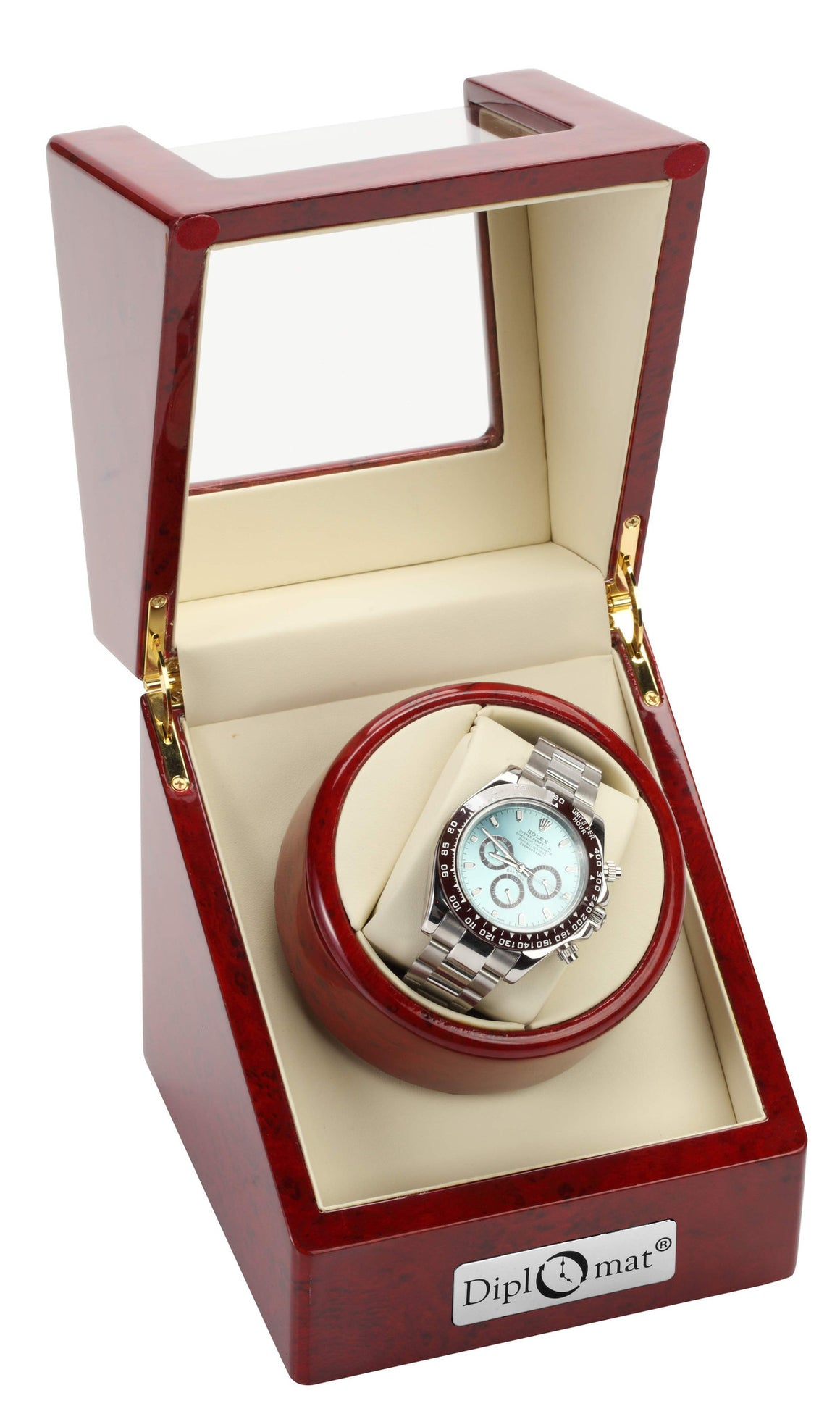 Rosewood Single Watch Winder For Large Faced Watches