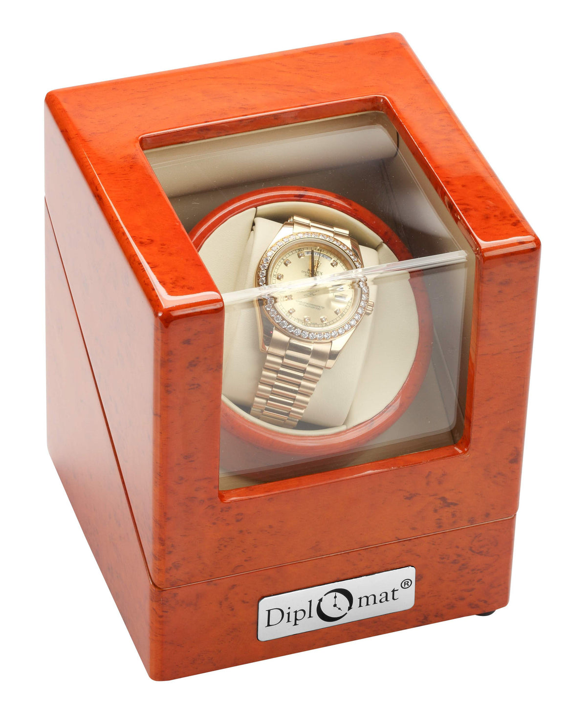 Diplomat burlwood Single Watch Winder For Large Faced Watches