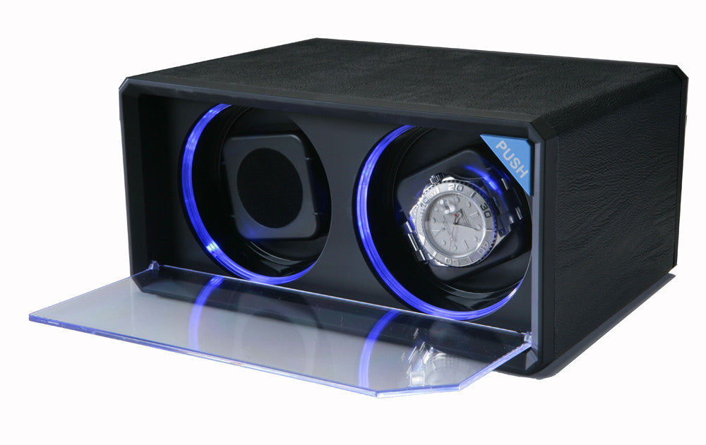 Diplomat Black Leather Double Watch Winder with LED's - Watch Box Co. - 1