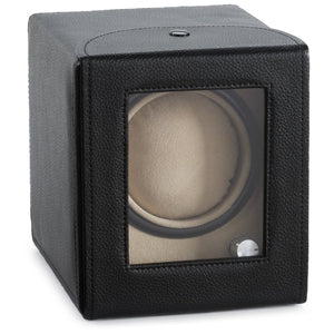 Diplomat Black Leather Single Watch Winder - Watch Box Co. - 2
