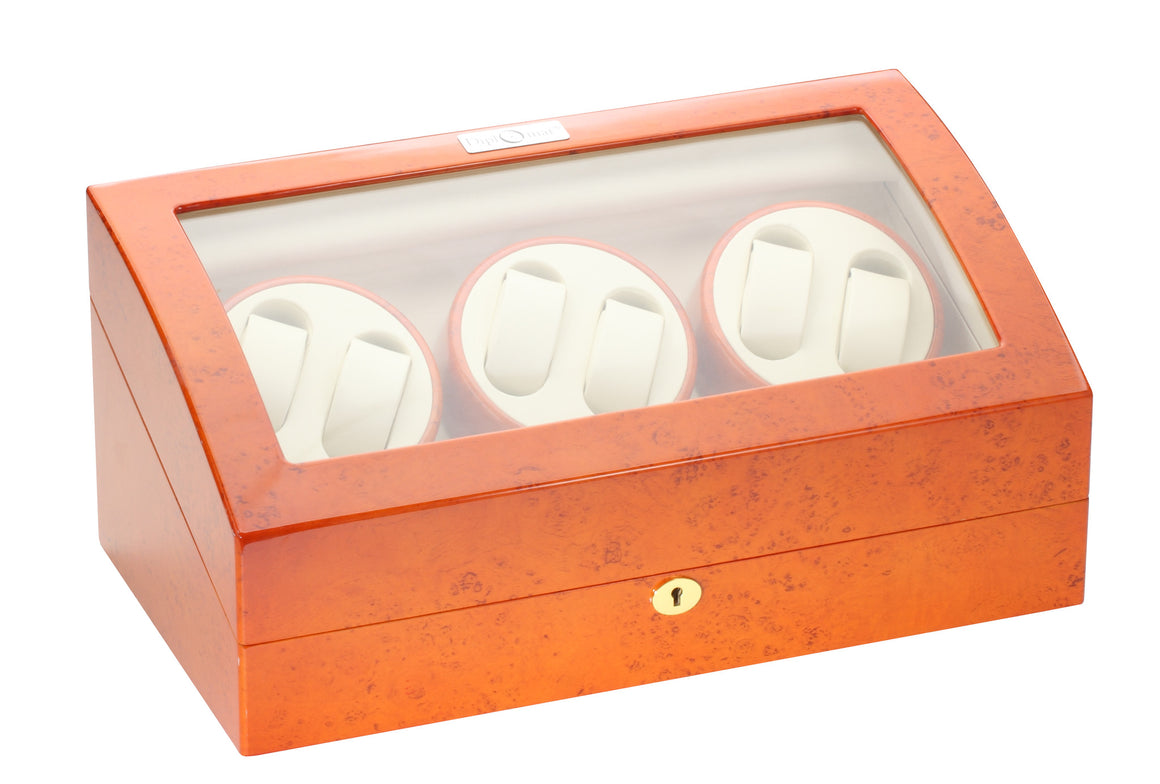 Diplomat Burl Wood Six Watch Winder - Watch Box Co. - 2
