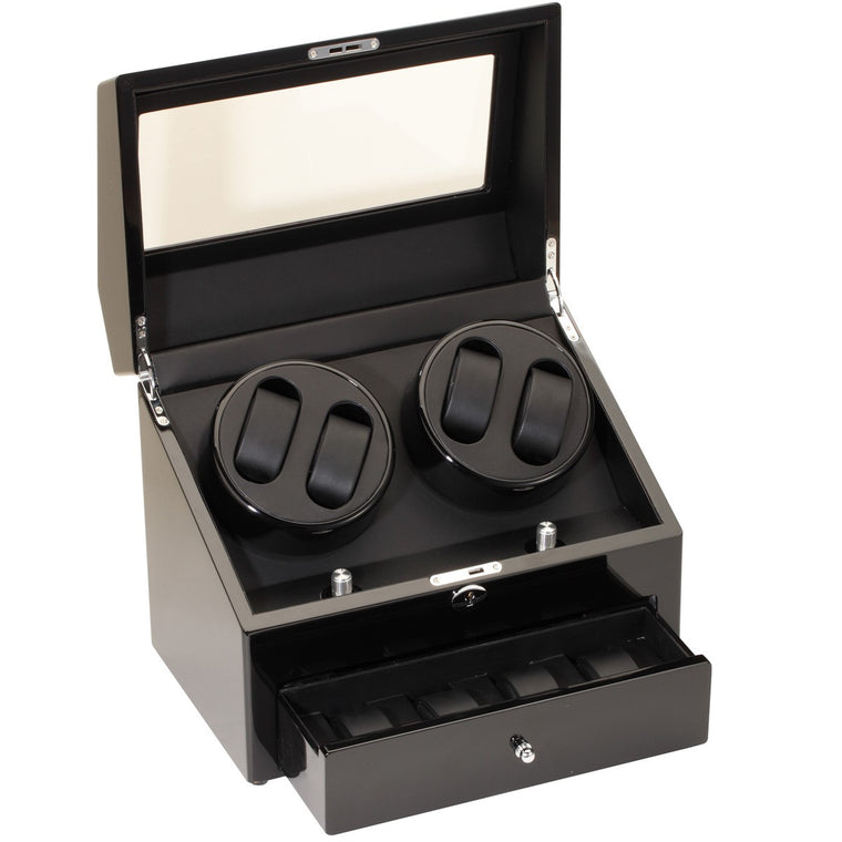 Piano Black Four Watch Winder With Extra Storage
