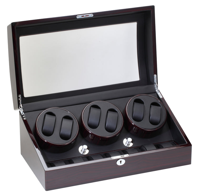 Diplomat Ebony Wood Six Watch Winder - Watch Box Co. - 1